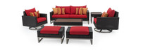 Milo™ Espresso 7 Piece Motion Deep Seating Set - Sunset Red