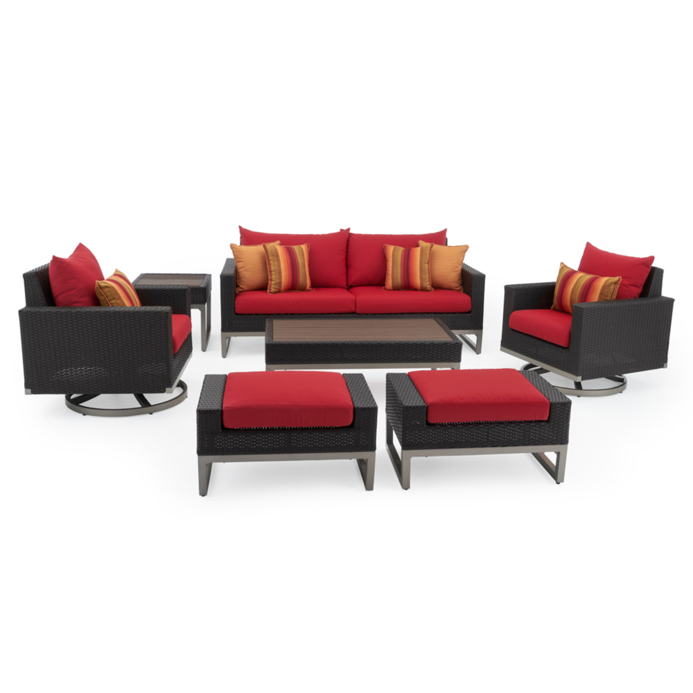 Milo™ Espresso 7 Piece Motion Deep Seating Set - Sunset Red