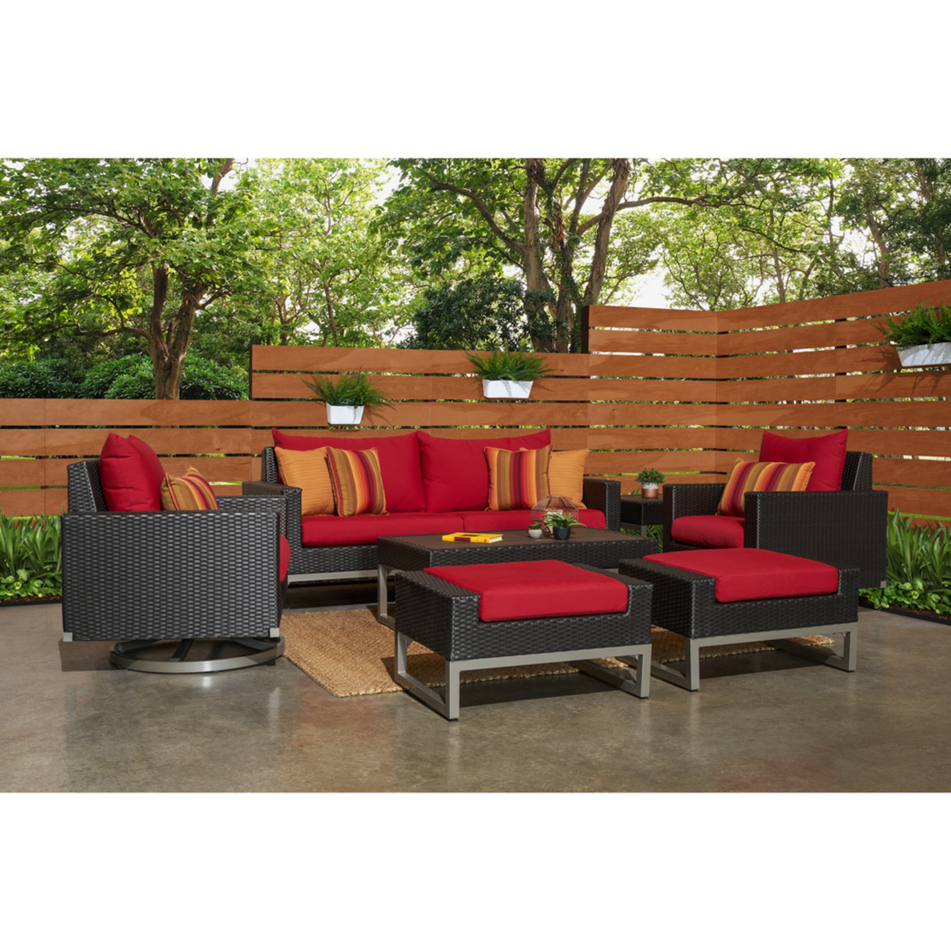 Milo™ Espresso 7pc Motion Deep Seating Set - Sunset Red