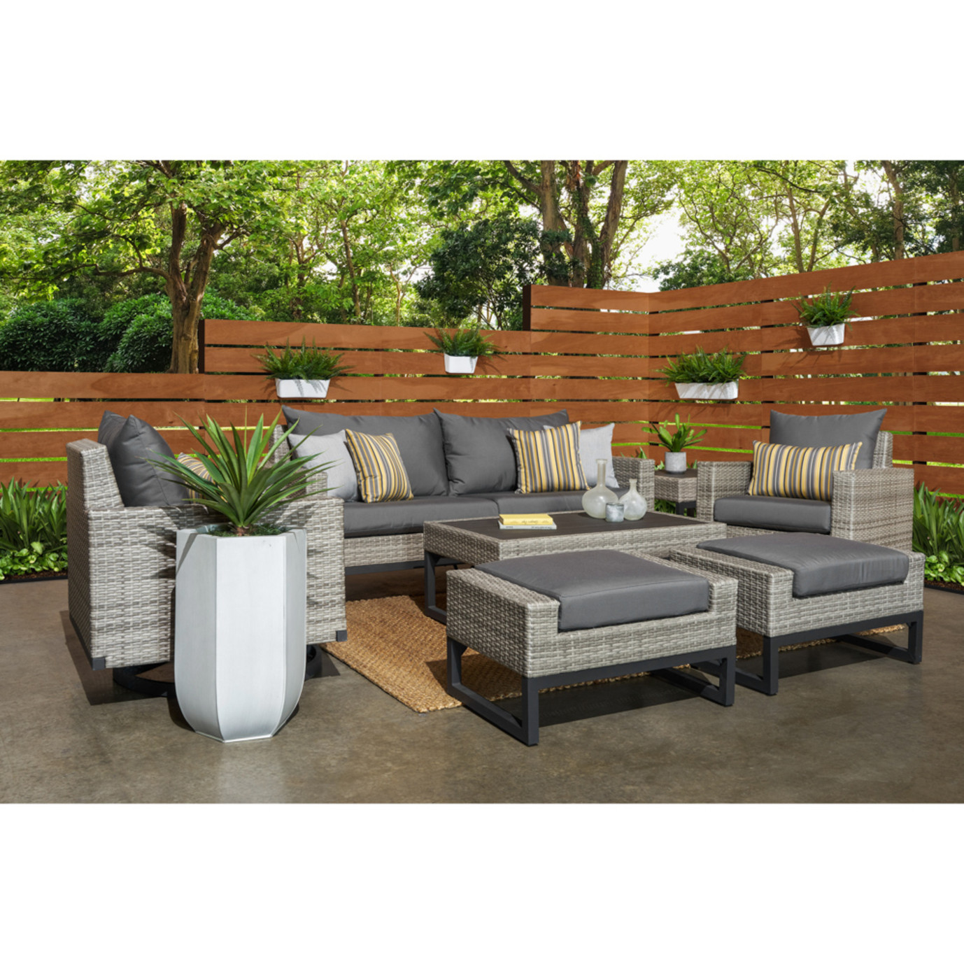 Milo™ Grey 7pc Motion Deep Seating Set - Charcoal Grey
