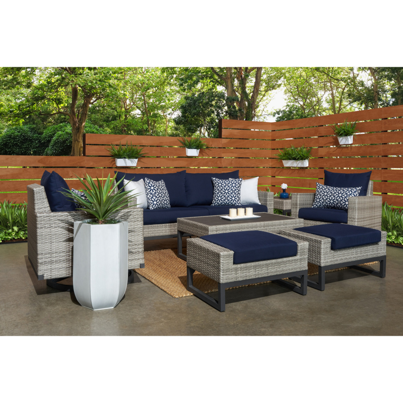 Milo™ Gray 7 Piece Motion Deep Seating Set - Navy Blue