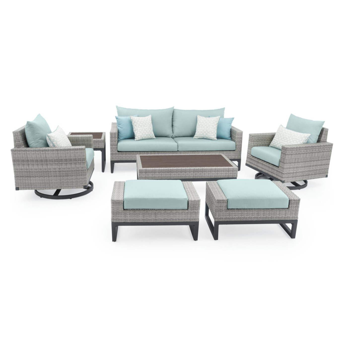 Milo™ Grey 7pc Motion Deep Seating Set - Spa Blue