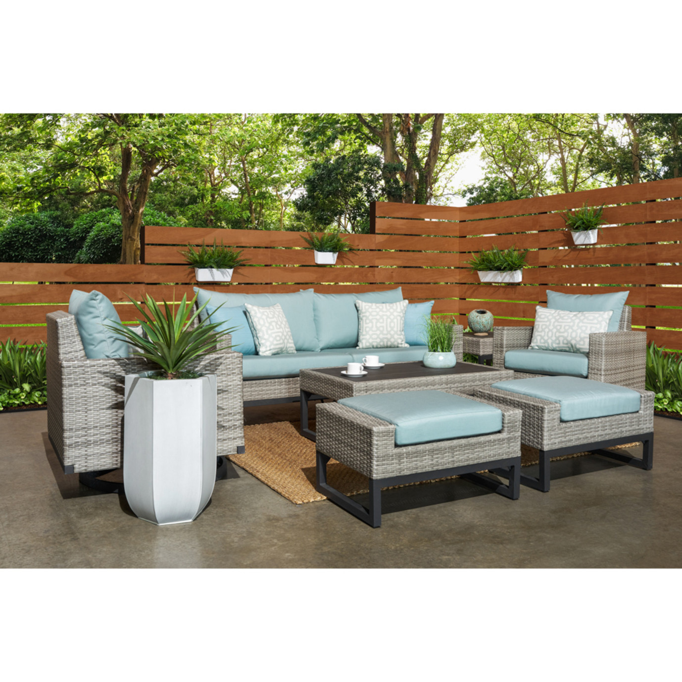Milo™ Gray 7pc Motion Deep Seating Set - Spa Blue