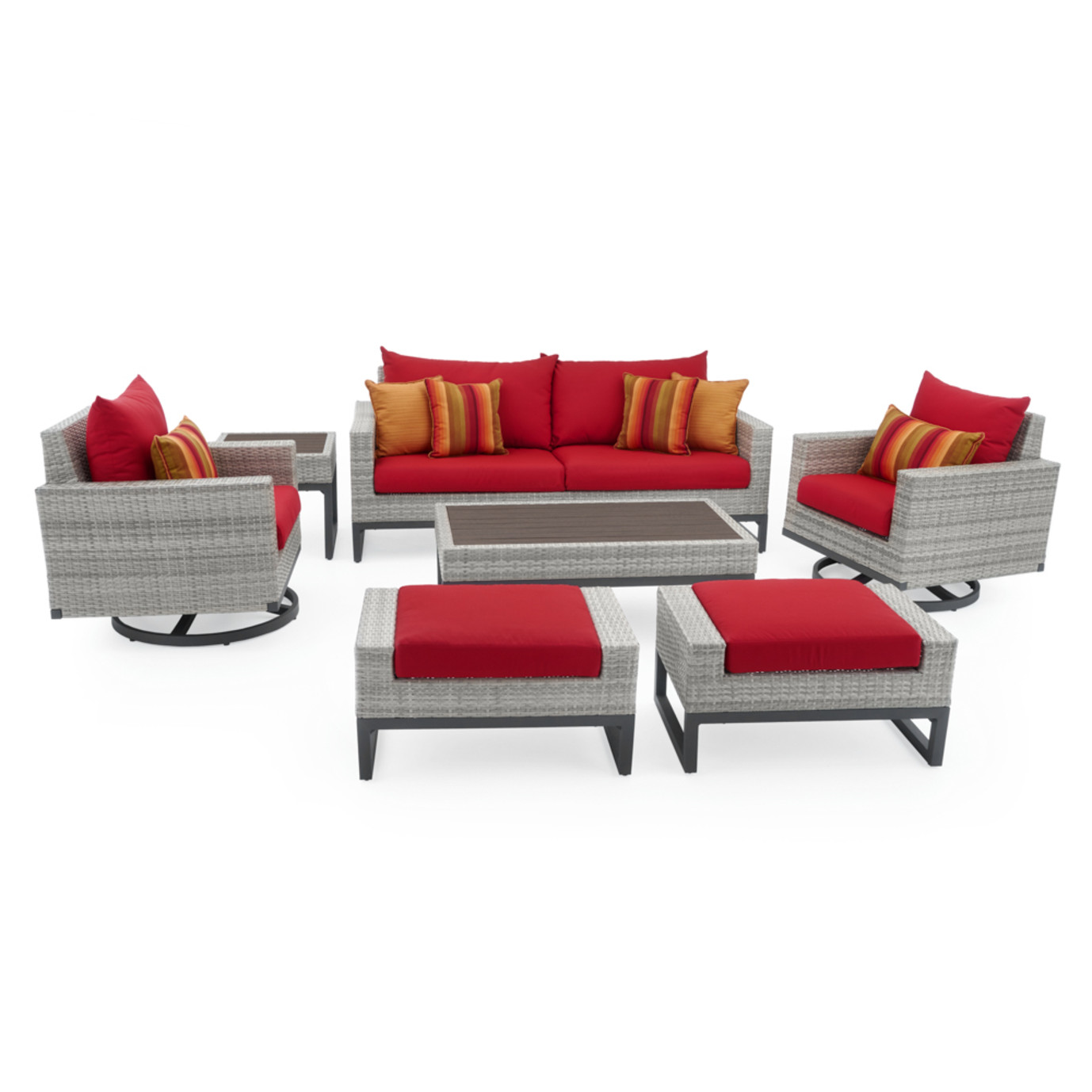Milo™ Gray 7pc Motion Deep Seating Set - Sunset Red