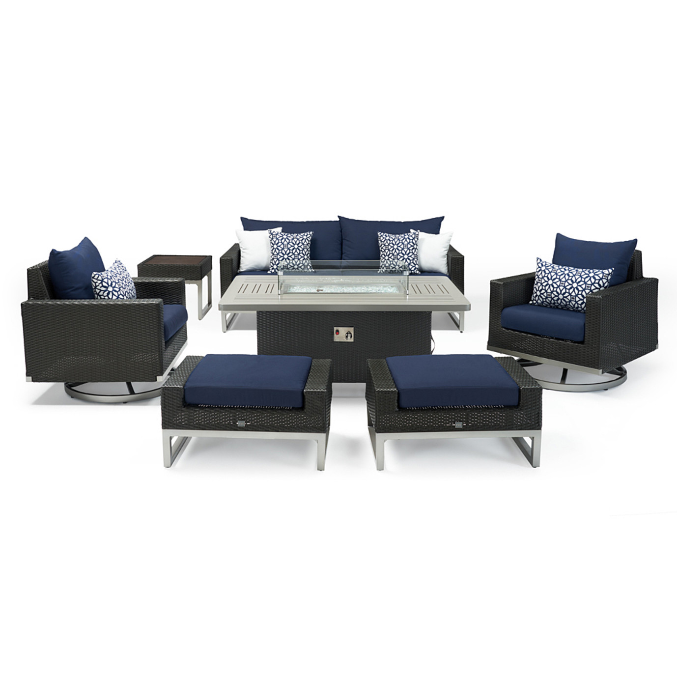 Milo™ Espresso 7 Piece Motion Fire Set - Navy Blue