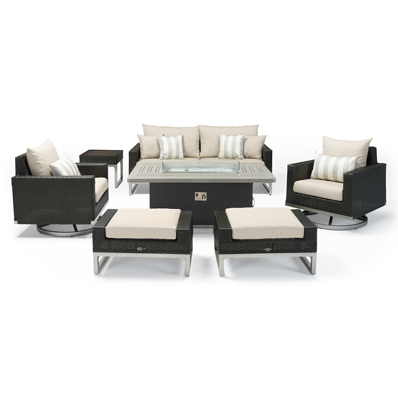 Milo™ Espresso 7 Piece Motion Fire Set - Slate Gray