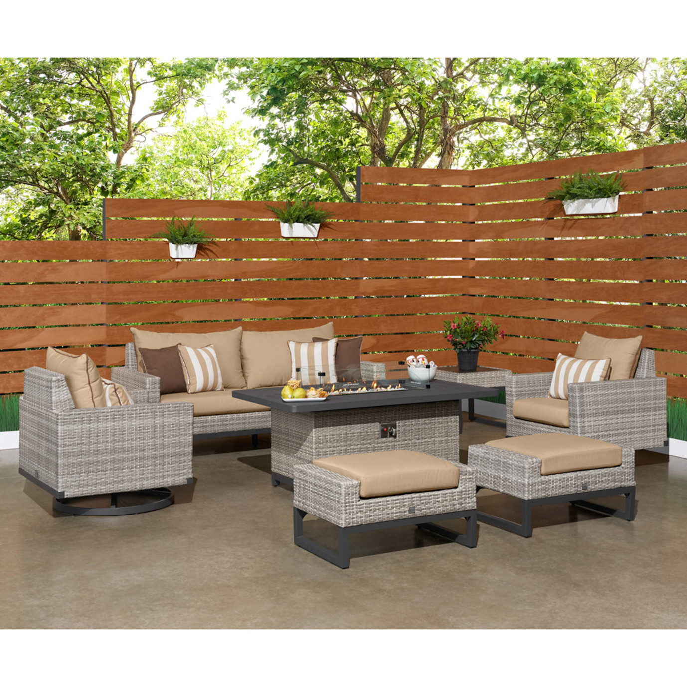 Milo™ Gray 7 Piece Motion Fire Set - Maxim Beige