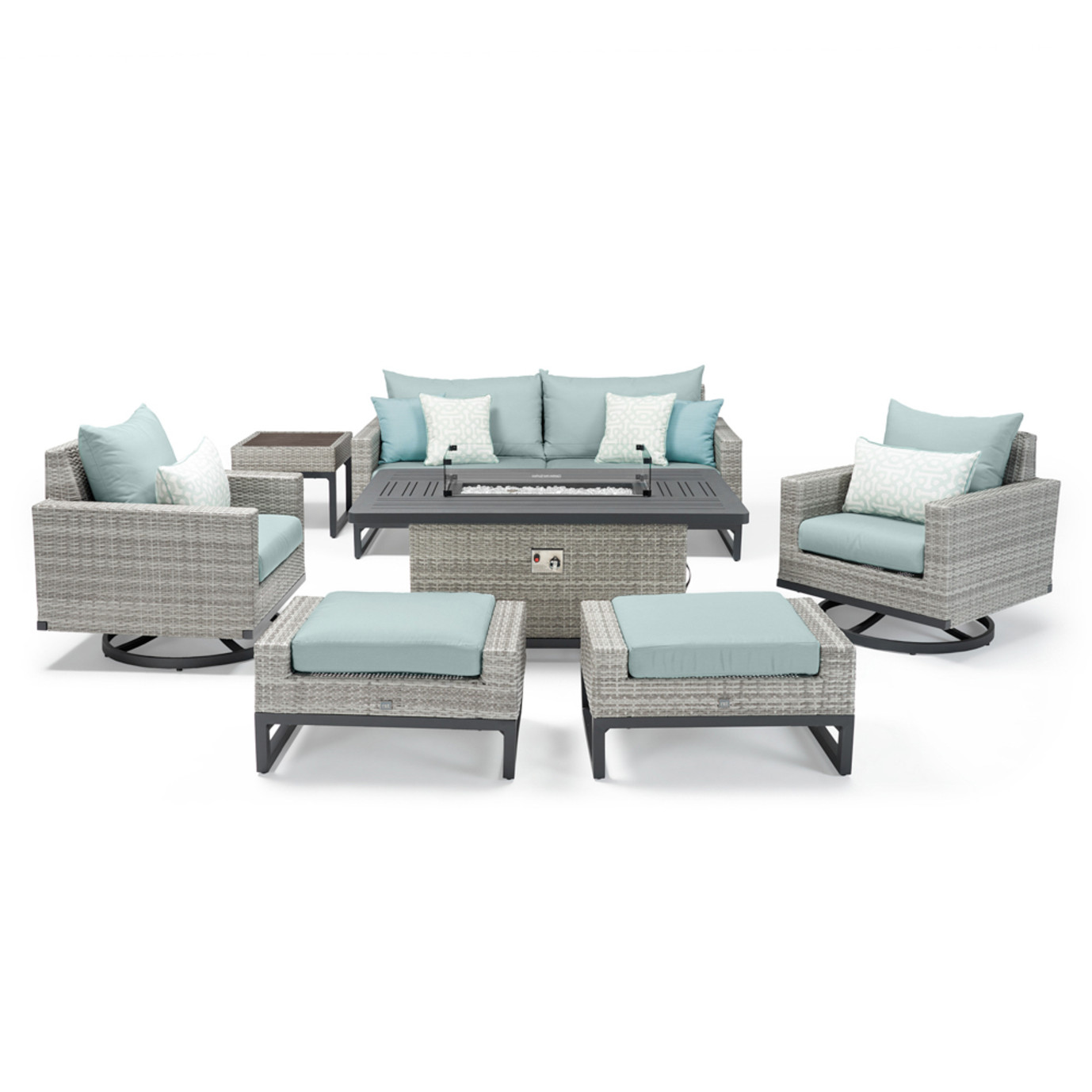Milo™ Gray 7 Piece Motion Fire Set - Spa Blue