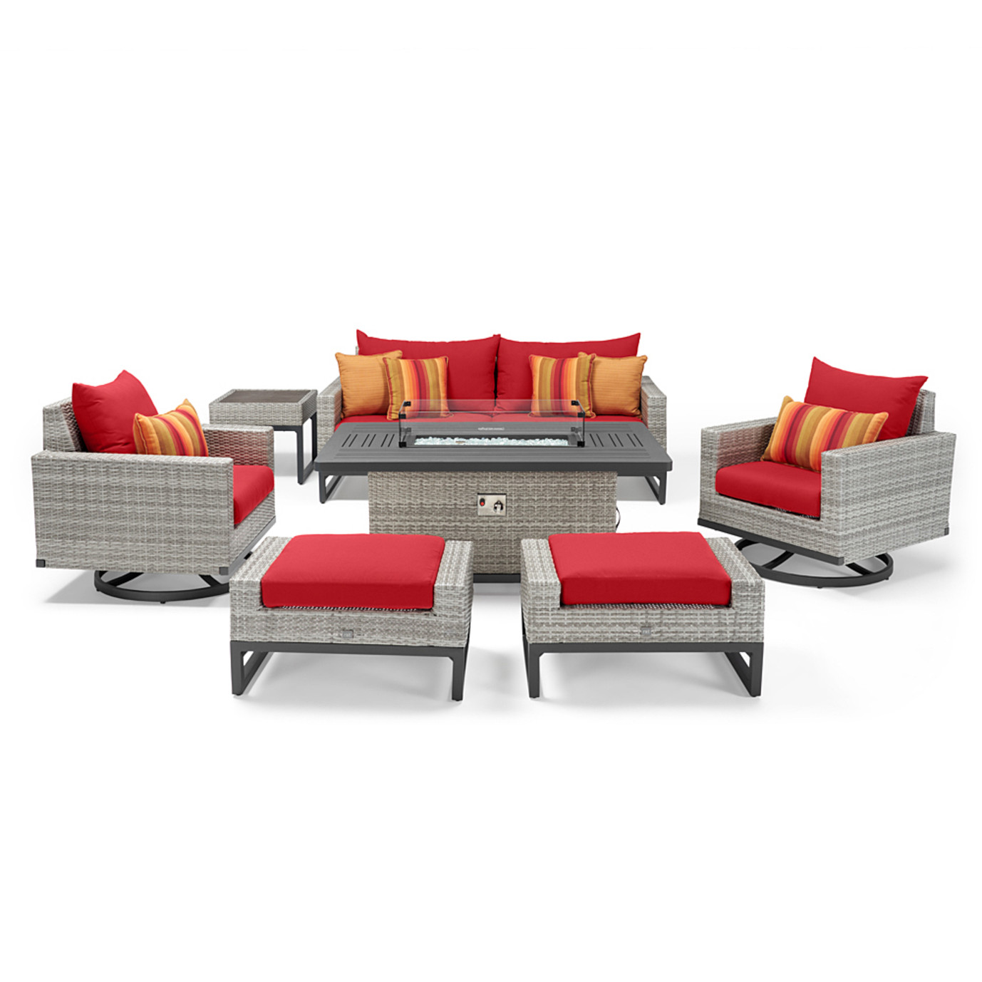 Milo™ Gray 7 Piece Motion Fire Set - Sunset Red