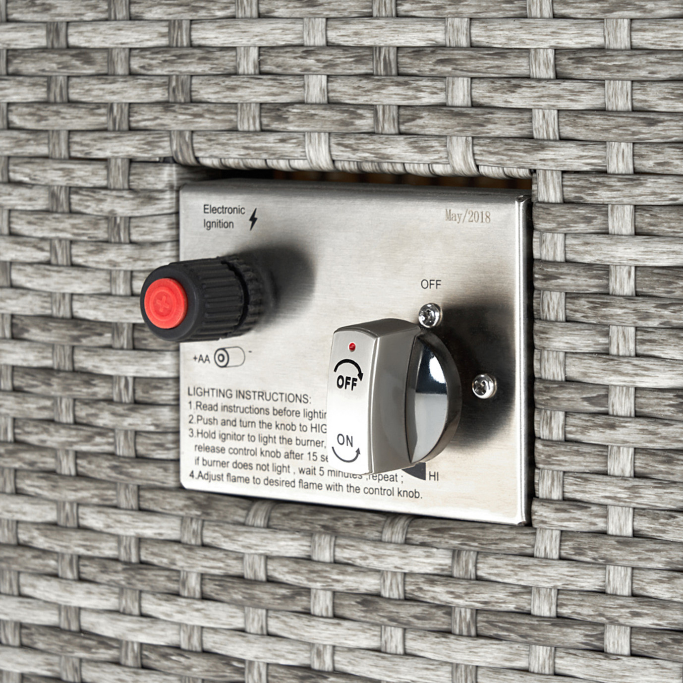 Milo™ Gray 7pc Motion Fire Set - Sunset Red