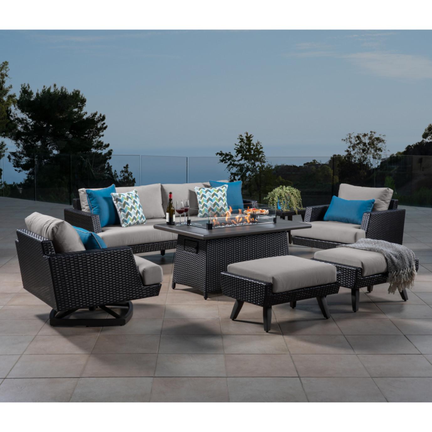 Portofino® Casual 7 Piece Motion Fire Seating Set - Dove Gray