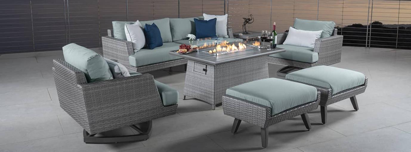 Portofino® Casual 7 Piece Motion Fire Seating Set - Spa Blue