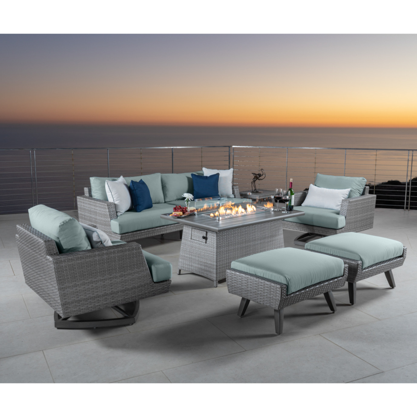 Portofino® Casual 7 Piece Motion Fire Seating Set - Spa Blue