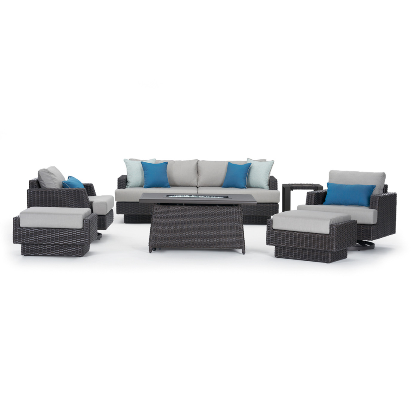 Portofino Repose 7pc Motion Fire Seating Set - Dove Gray
