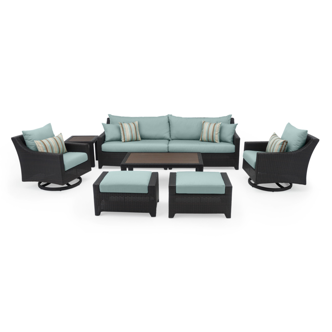Deco™ Deluxe 8pc Sofa & Club Chair Set - Bliss Blue