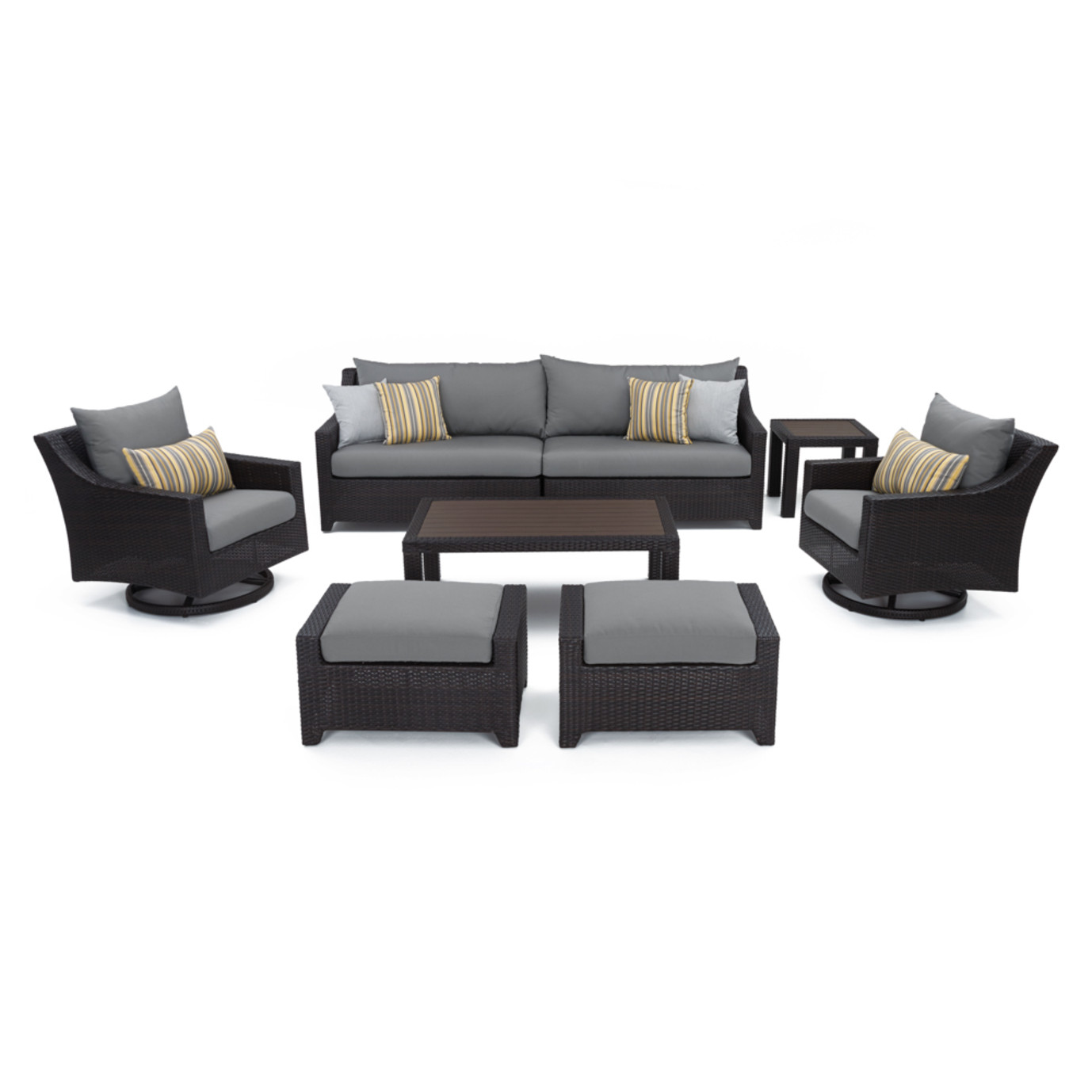Deco™ Deluxe 8pc Sofa & Club Chair Set - Charcoal Gray