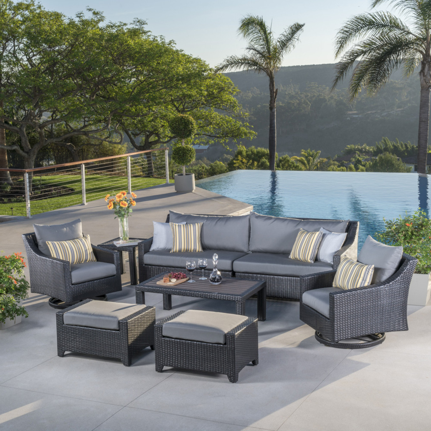 Deco™ Deluxe 8pc Sofa & Club Chair Set - Charcoal Grey