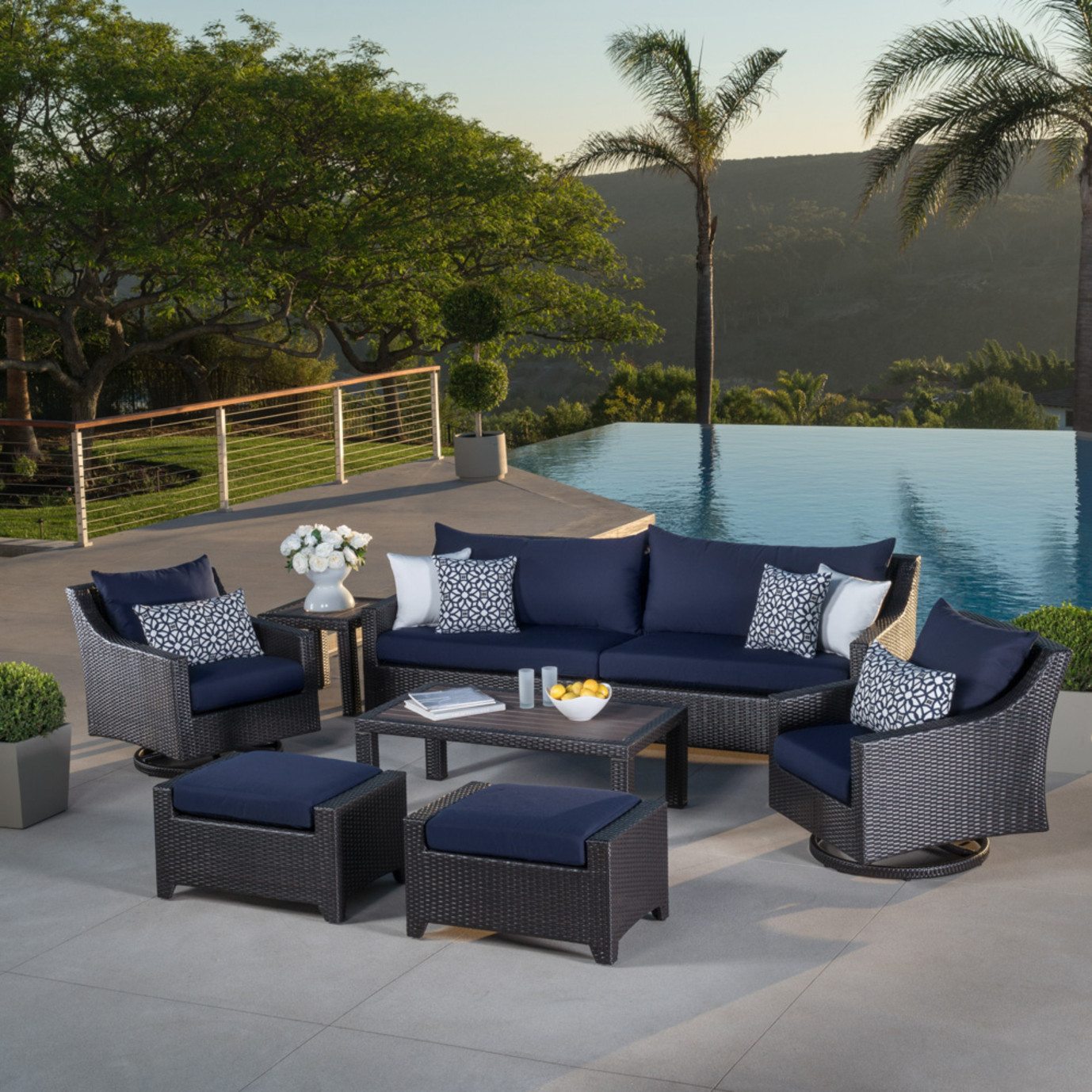 Deco™ Deluxe 8 Piece Sofa & Club Chair Set - Navy Blue