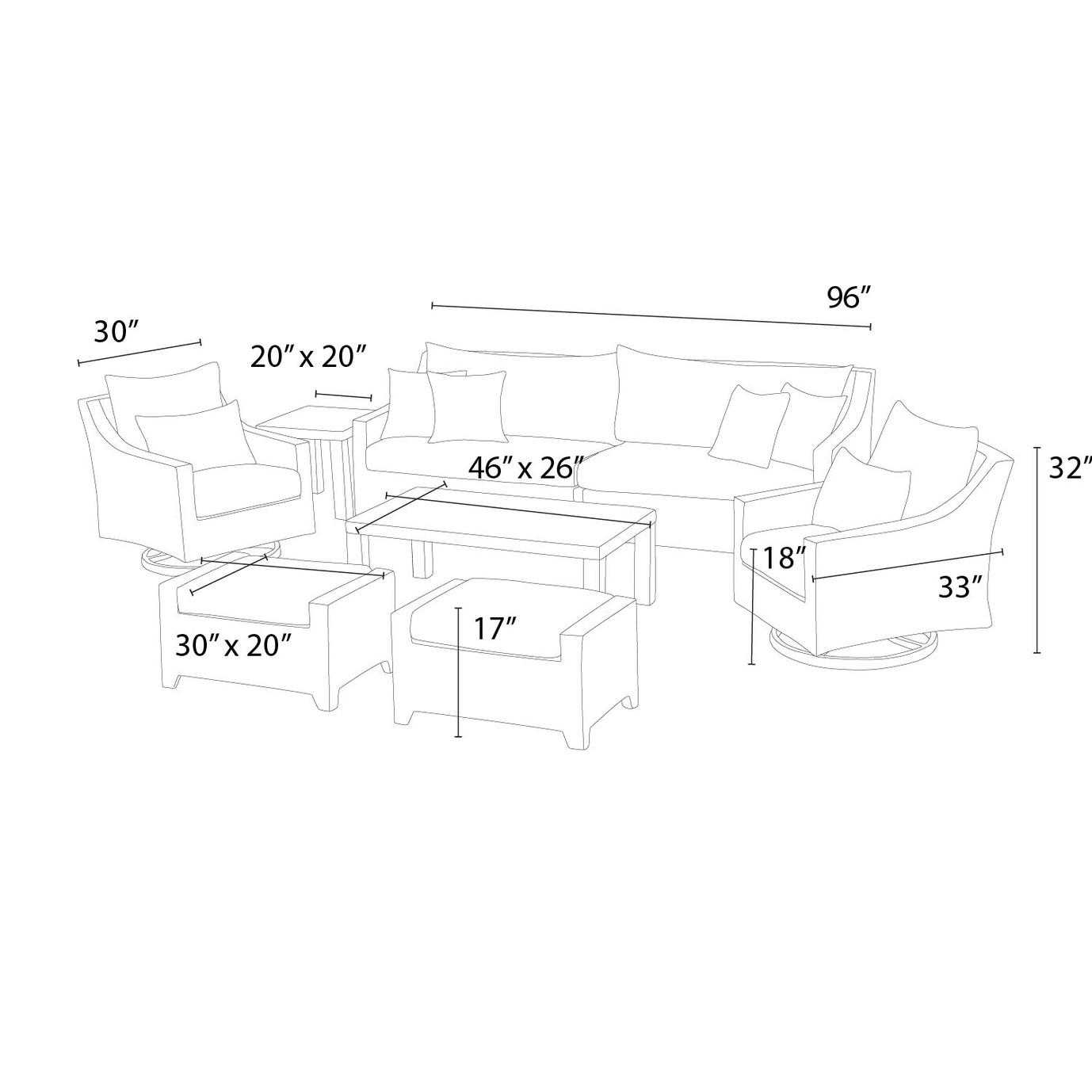 Deco™ Deluxe 8pc Sofa & Club Chair Set - Slate Gray