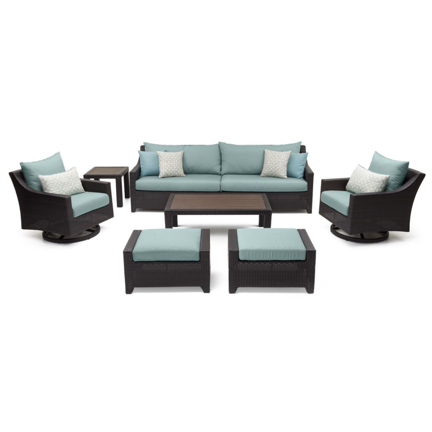 Deco Deluxe 8pc Sofa Amp Club Chair Set Spa Blue Rst Brands