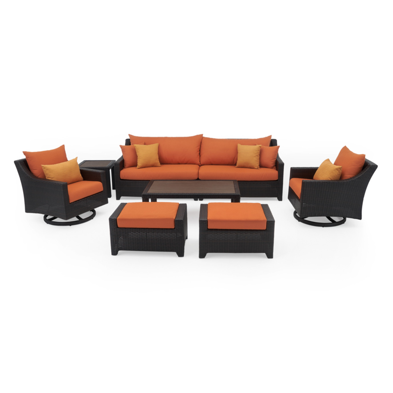 Deco™ Deluxe 8 Piece Sofa & Club Chair Set - Tikka Orange