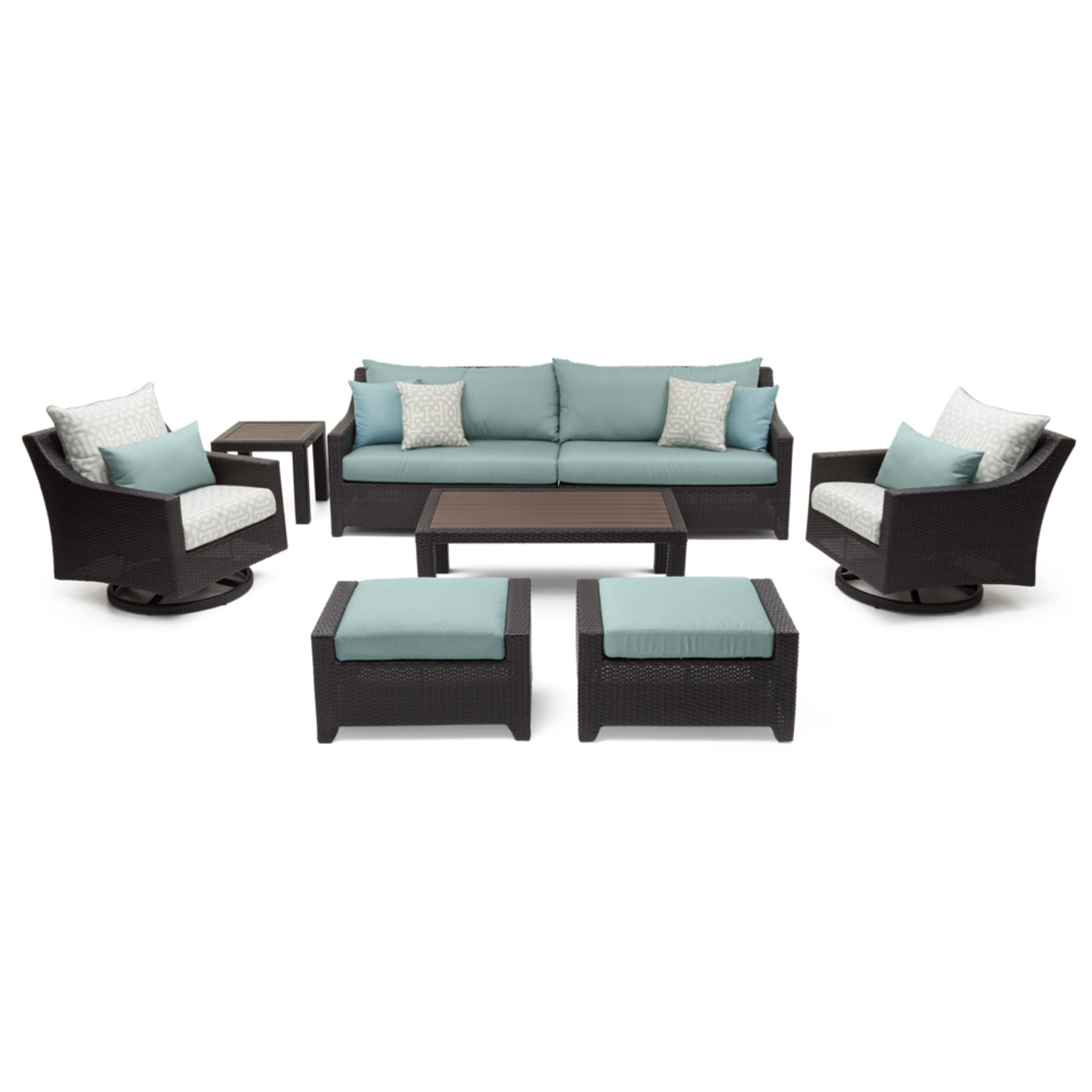 Deco™ 8 Piece Sofa & Club Chair Set - Spa Blue Design