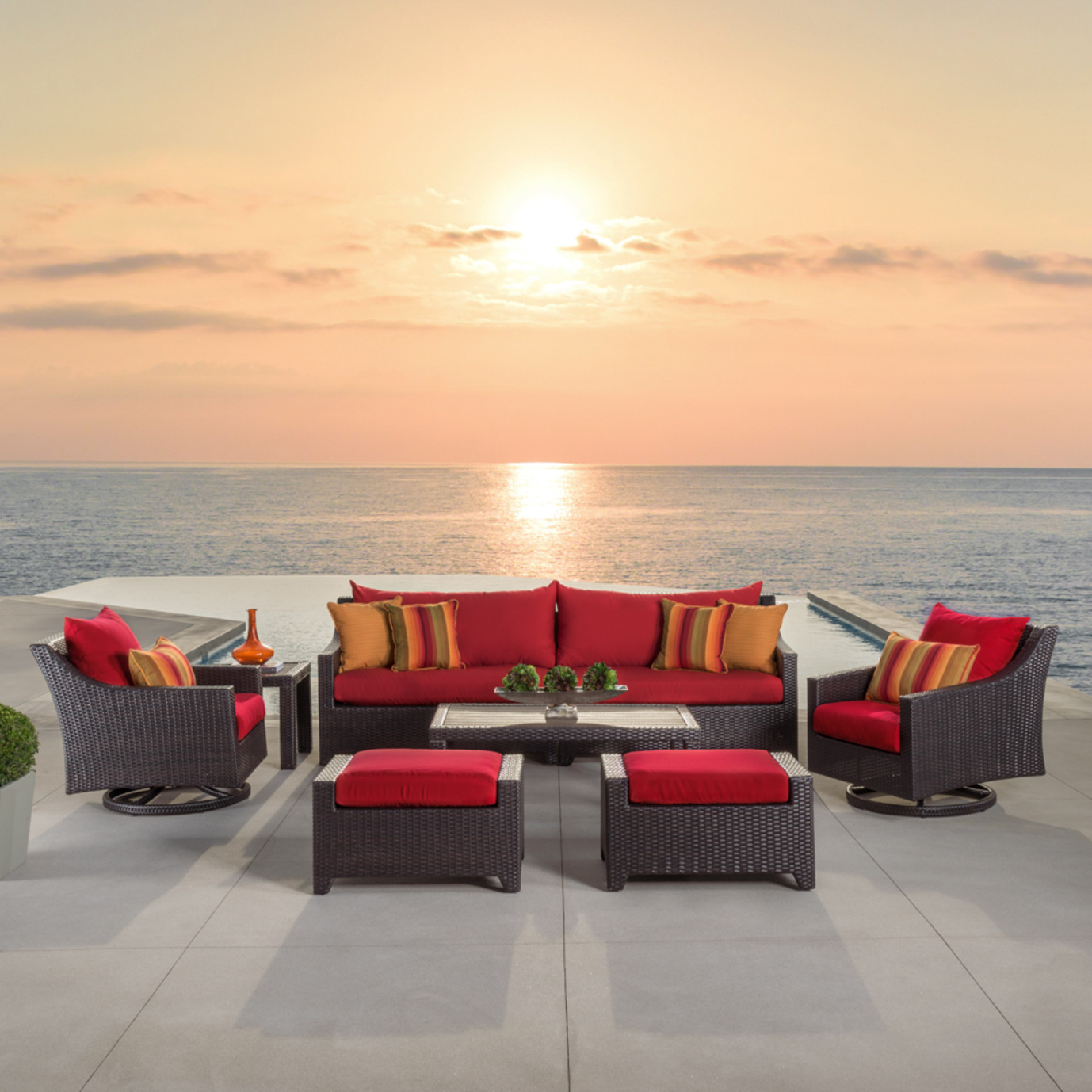 Deco™ Deluxe 8pc Sofa & Motion Club Chair Set - Sunset Red