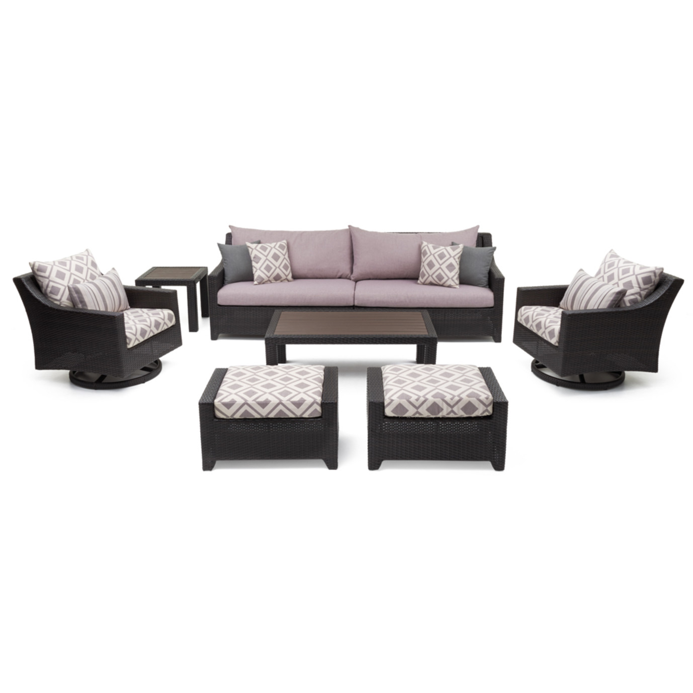 Deco™ 8 Piece Sofa & Club Chair Set - Wisteria Lavender Design