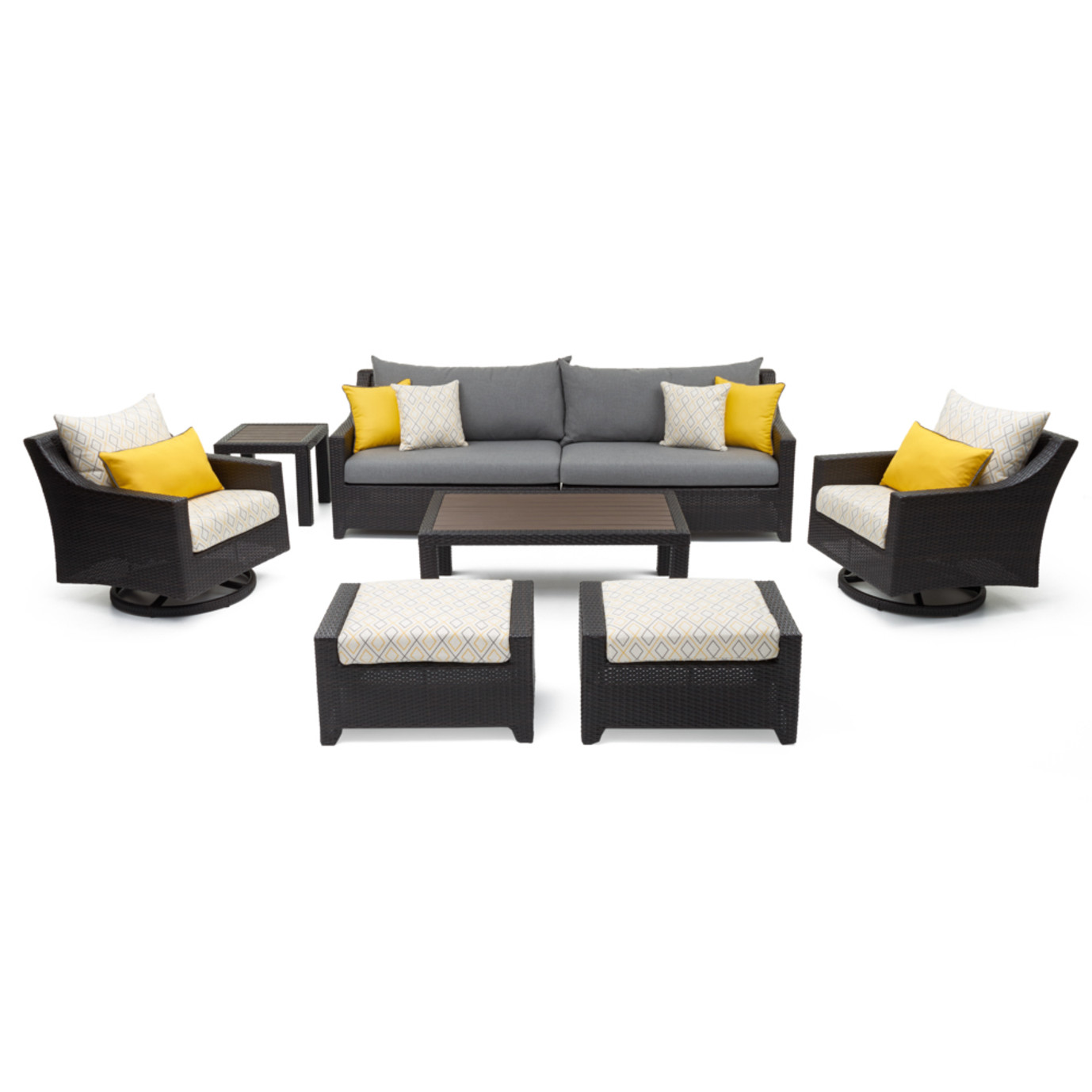 Deco™ 8pc Sofa & Club Chair Set - Sunflower Yellow Design