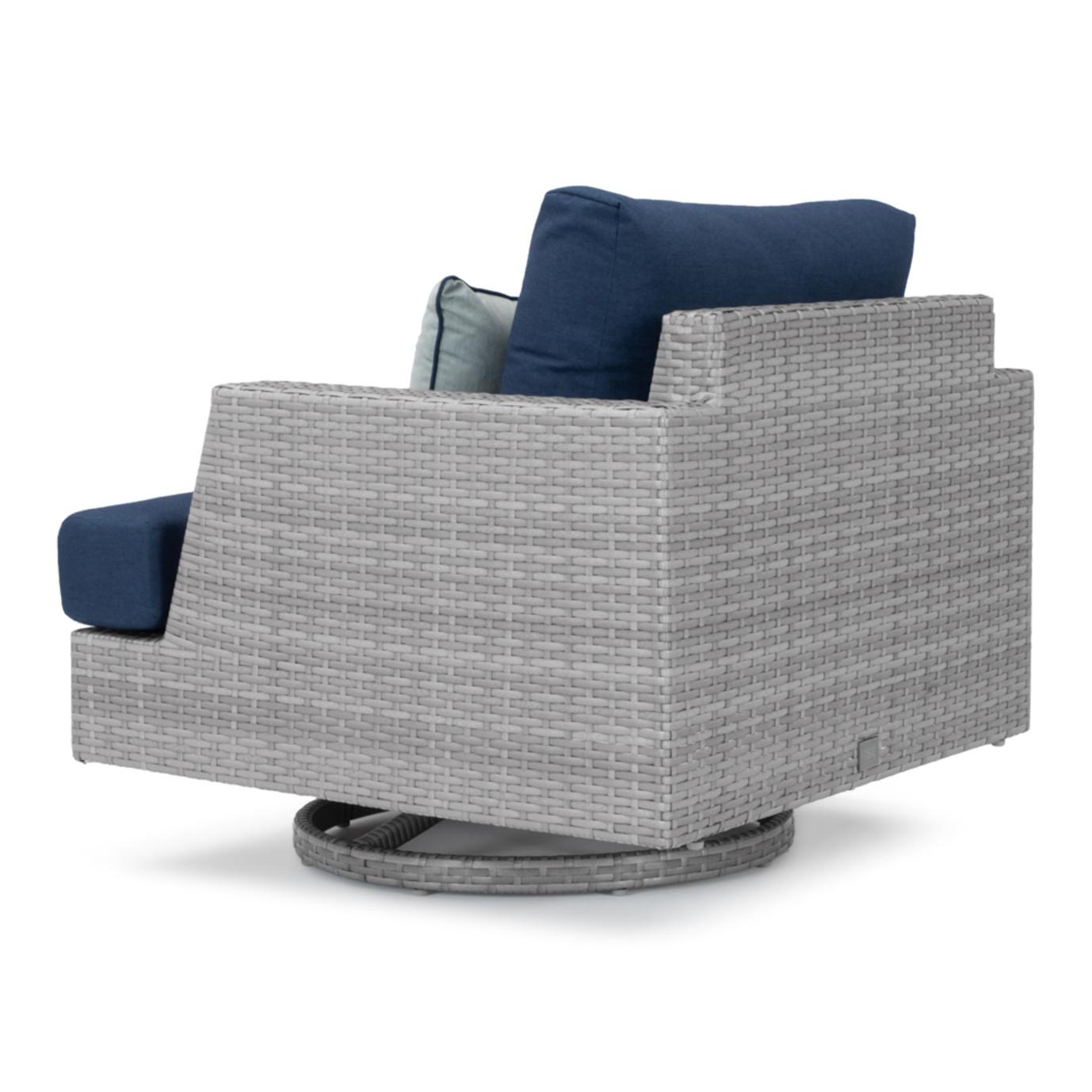 Portofino® Comfort 7 Piece Motion Wood Seating Set - Laguna Blue