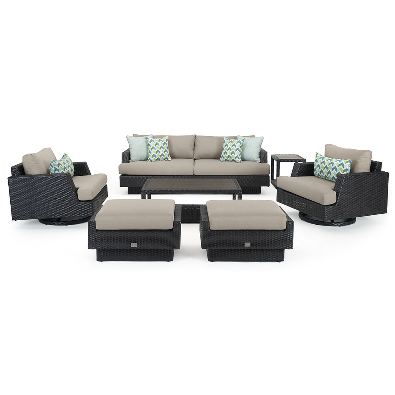 Portofino® Comfort 7 Piece Motion Wood Seating Set - Taupe Mist