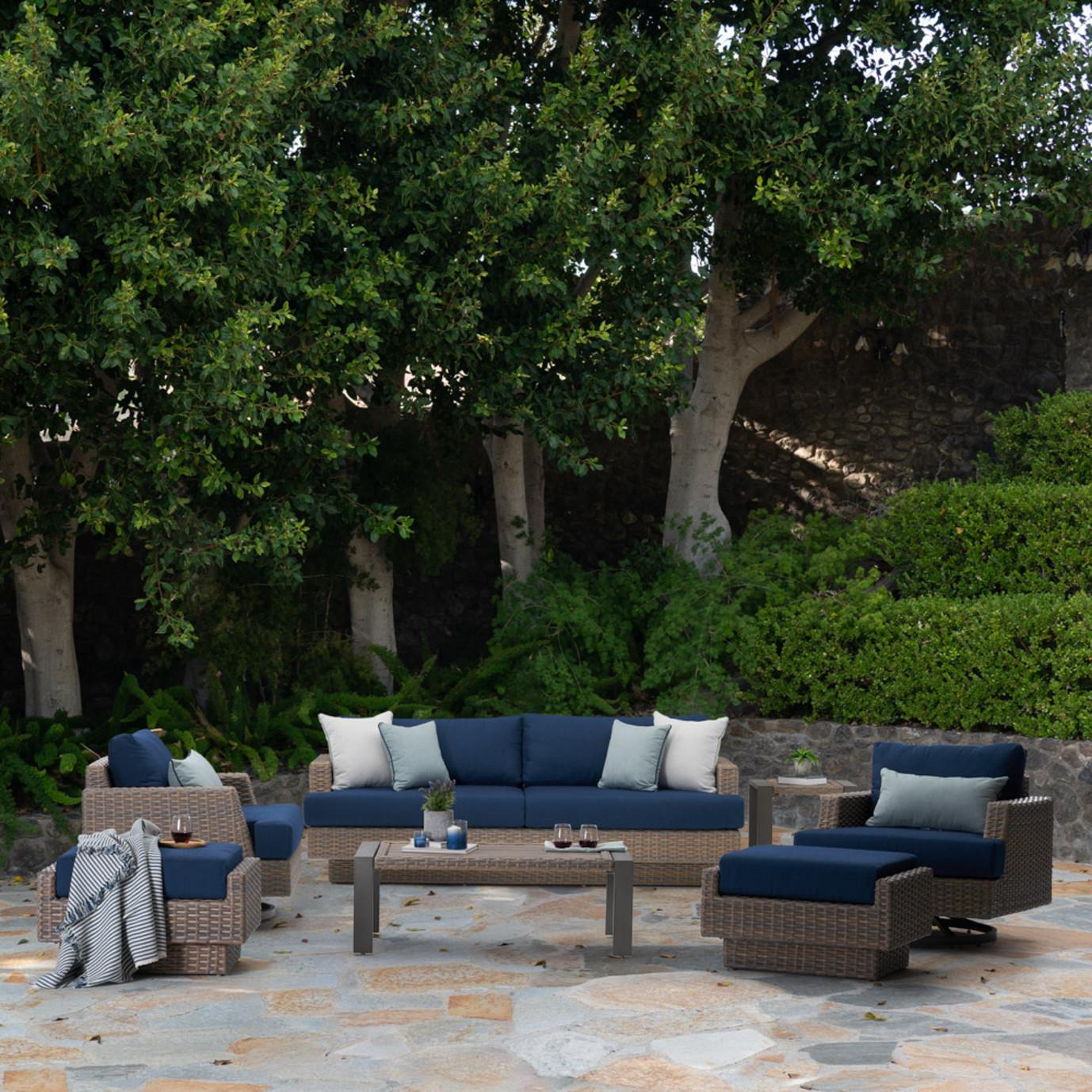 Portofino Repose 7 Piece Motion Seating Set - Laguna Blue