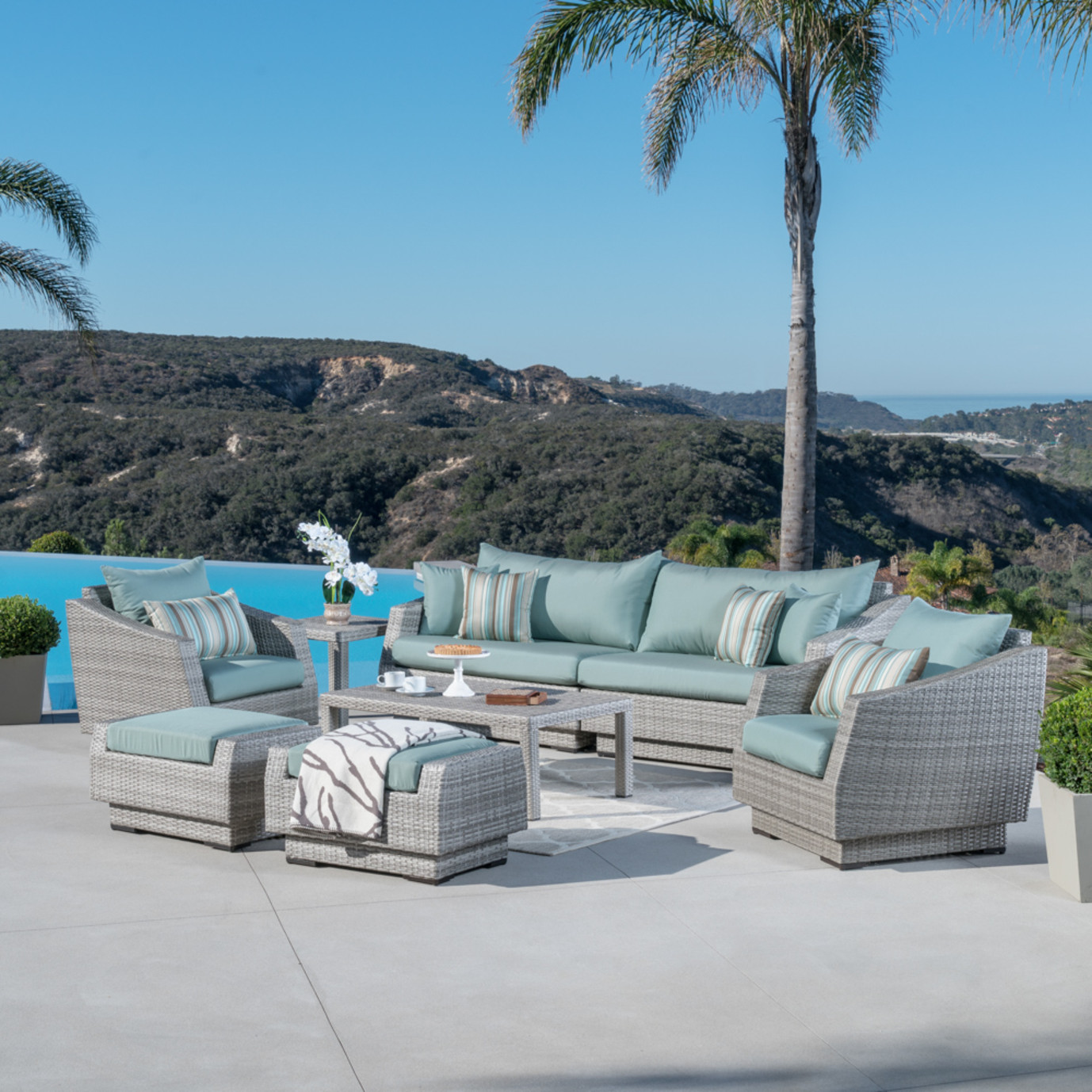 Cannes™ 8pc Sofa Set with Furniture Covers - Bliss Blue