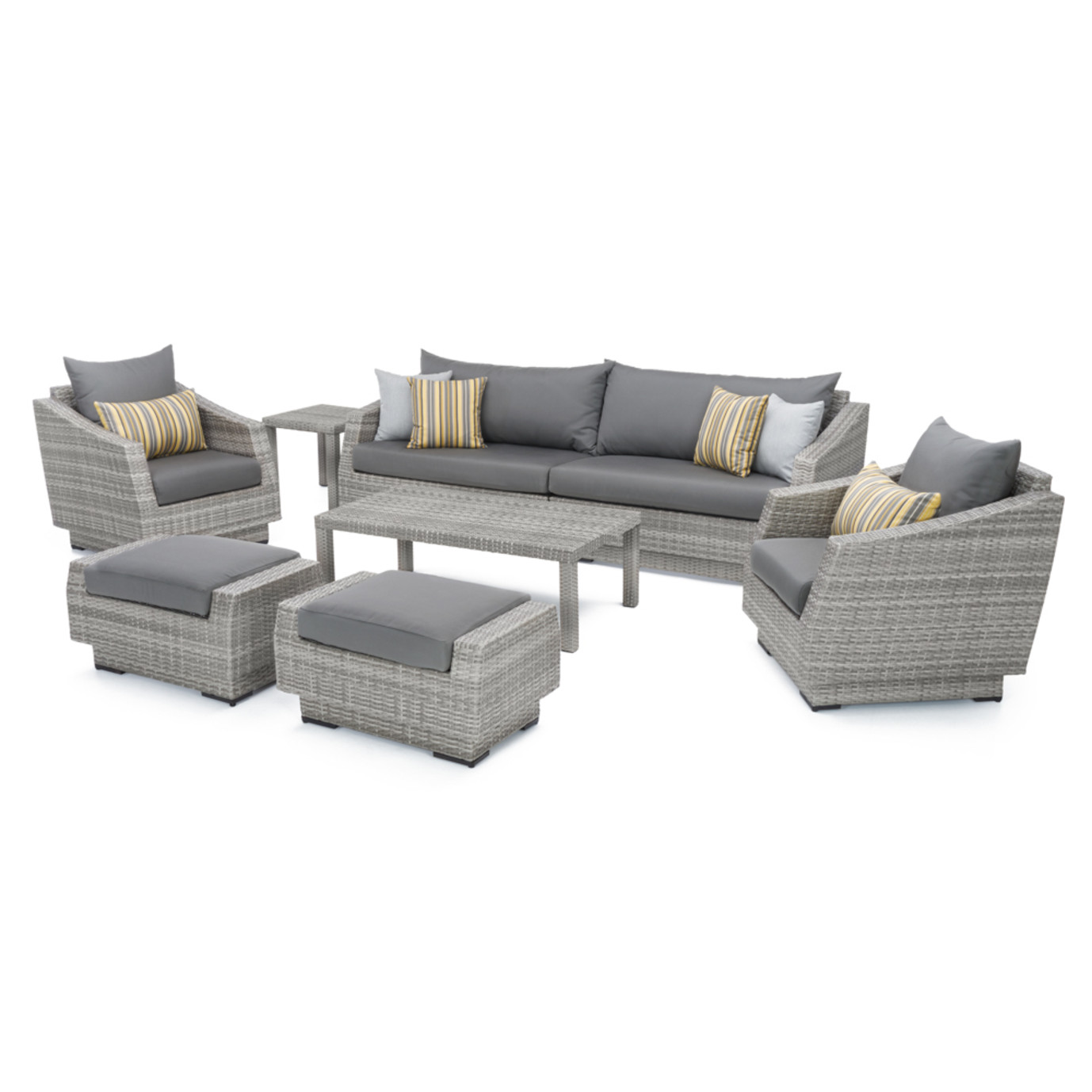 Cannes 8pc Sofa Set With Furniture Covers Charcoal Grey