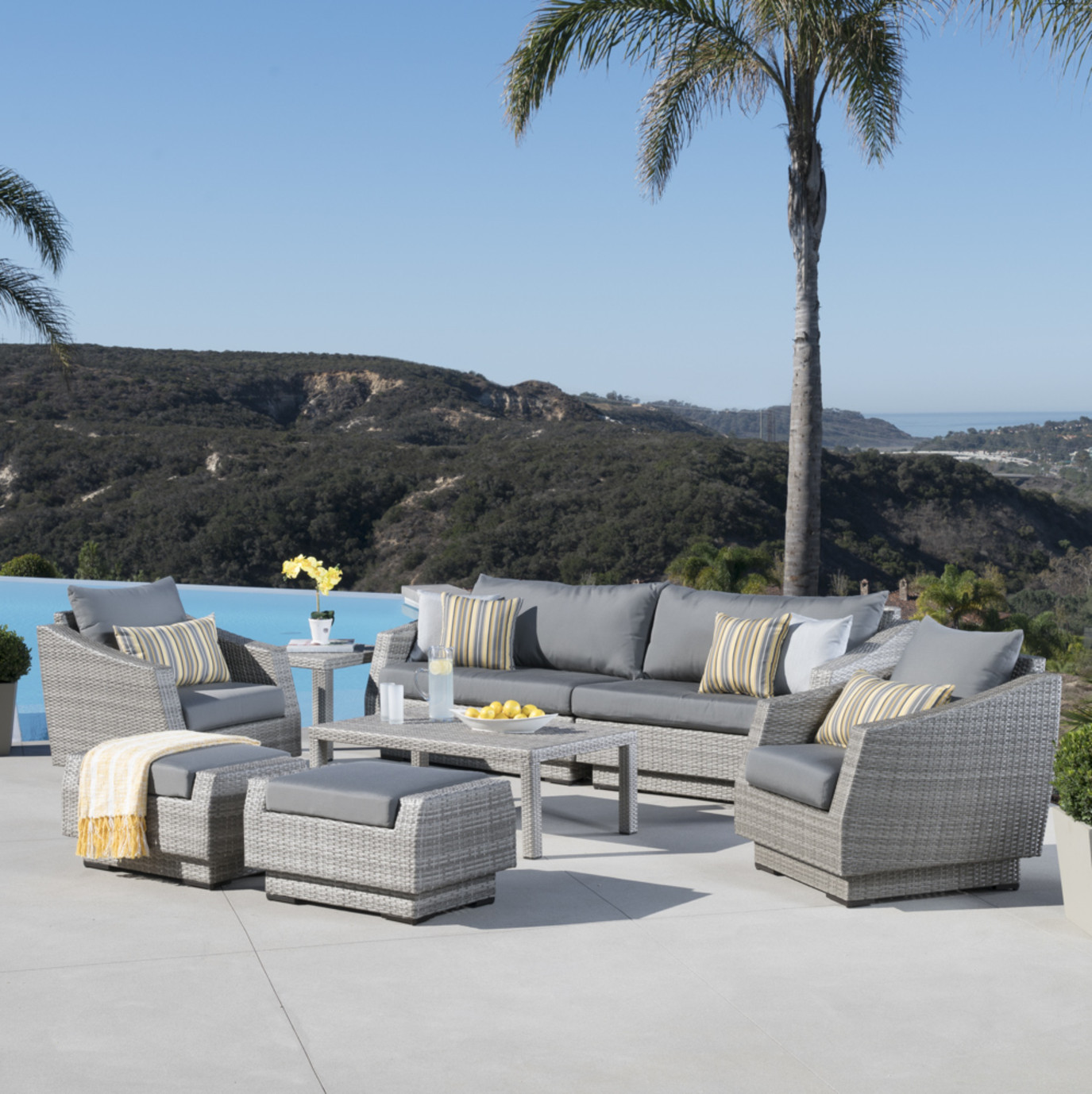 Cannes™ 8pc Sofa Set with Furniture Covers - Charcoal Gray