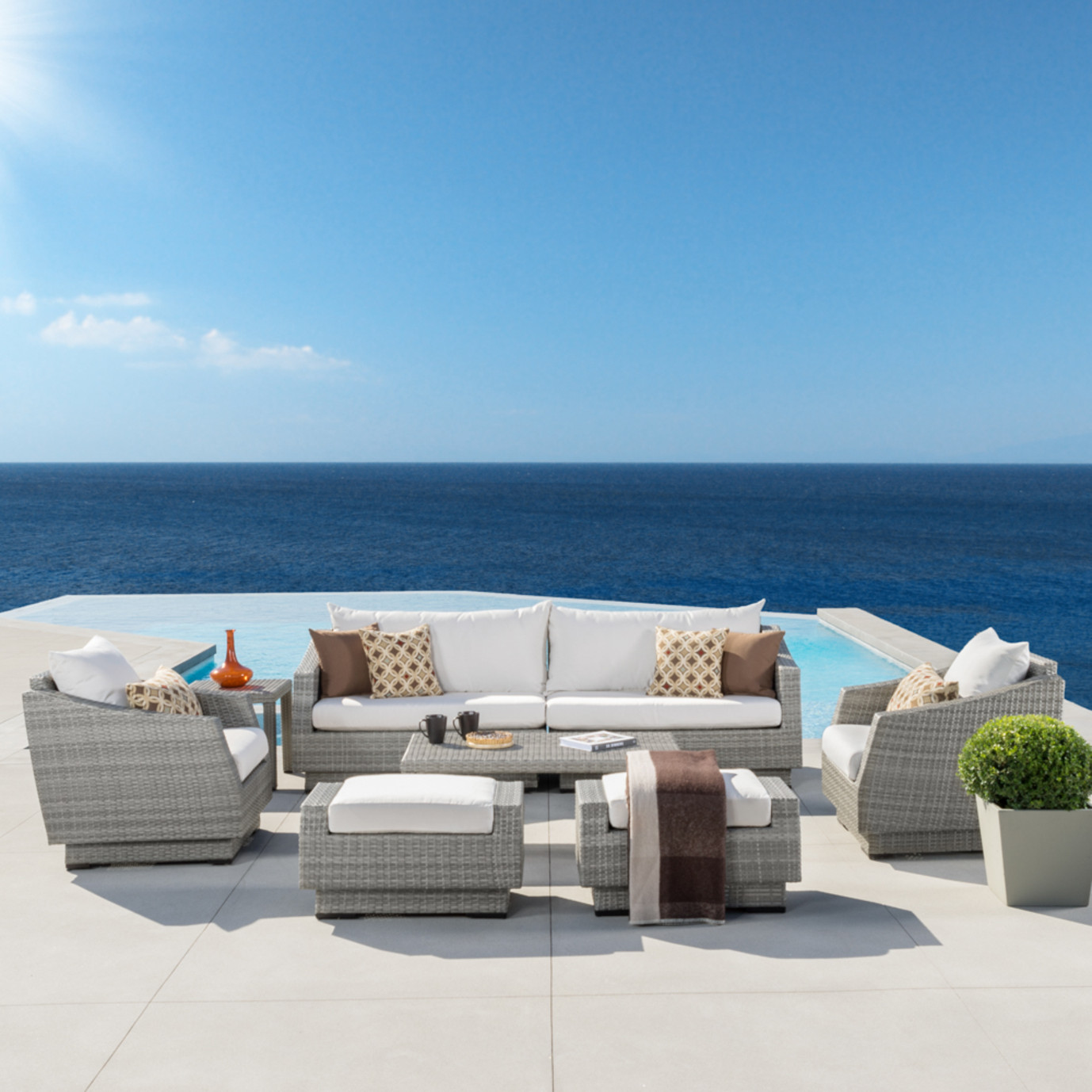 Cannes™ 8pc Sofa Set with Furniture Covers - Moroccan Cream