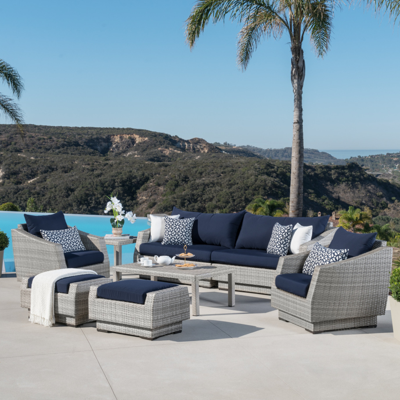Cannes™ 8pc Sofa Set with Furniture Covers - Navy Blue