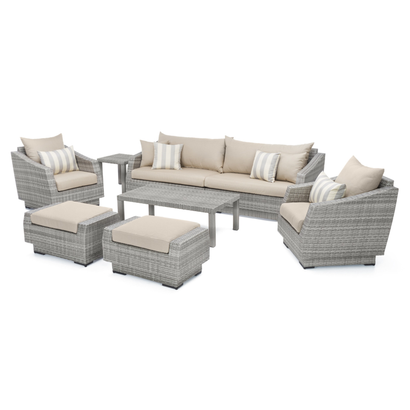 Cannes™ 8pc Sofa Set with Furniture Covers - Slate Grey