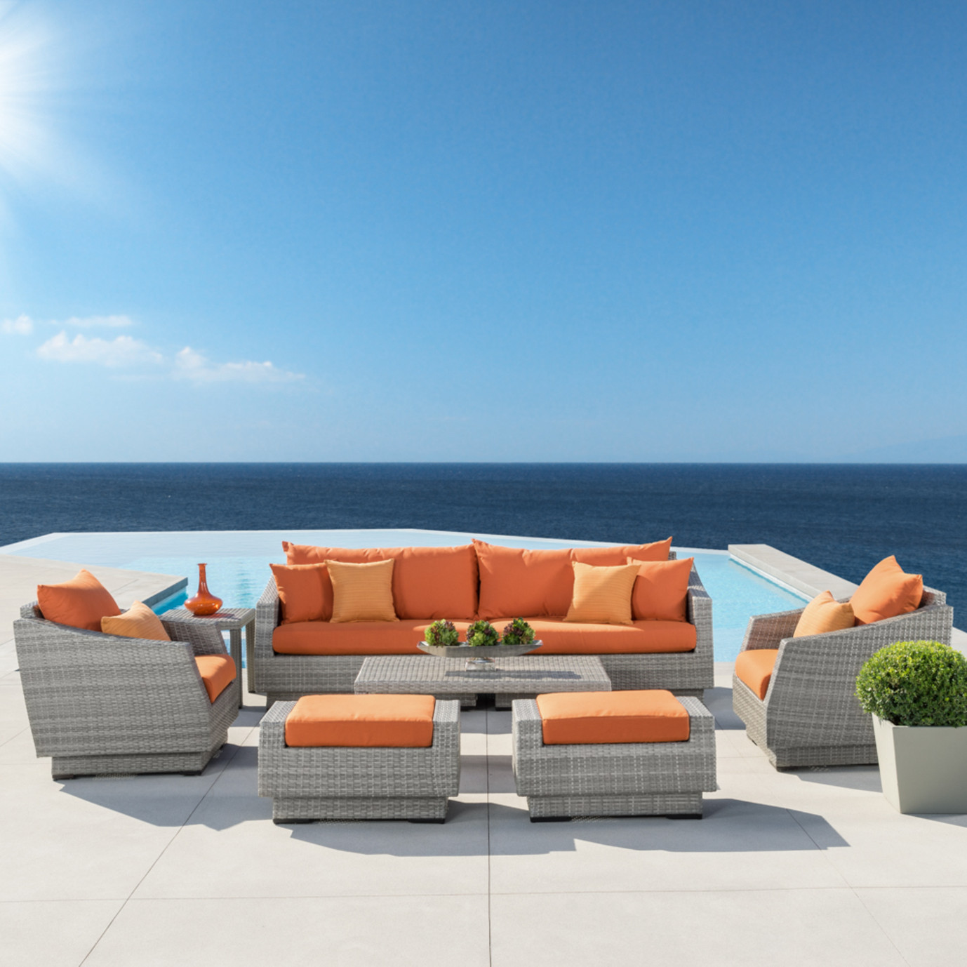 Cannes™ 8pc Sofa Set with Furniture Covers - Tikka Orange