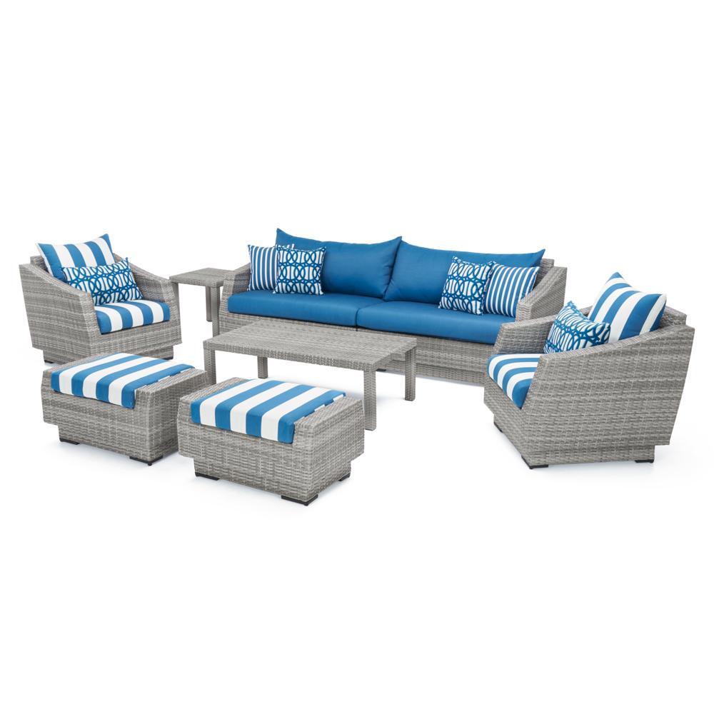 RST Cannes 8pc Sofa & Club Chair Set - Regatta Blue
