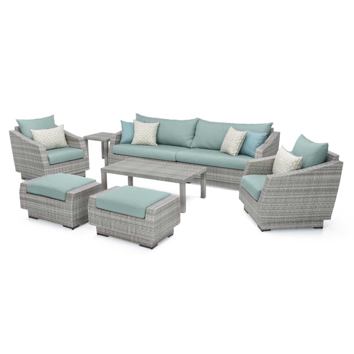 Cannes™ 8pc Sofa & Club Chair Set - Spa Blue