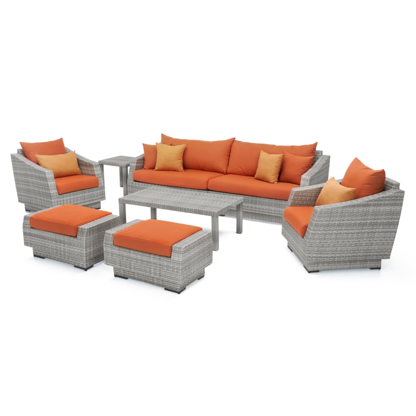 Cannes™ 8pc Sofa & Club Chair Set - Tikka Orange