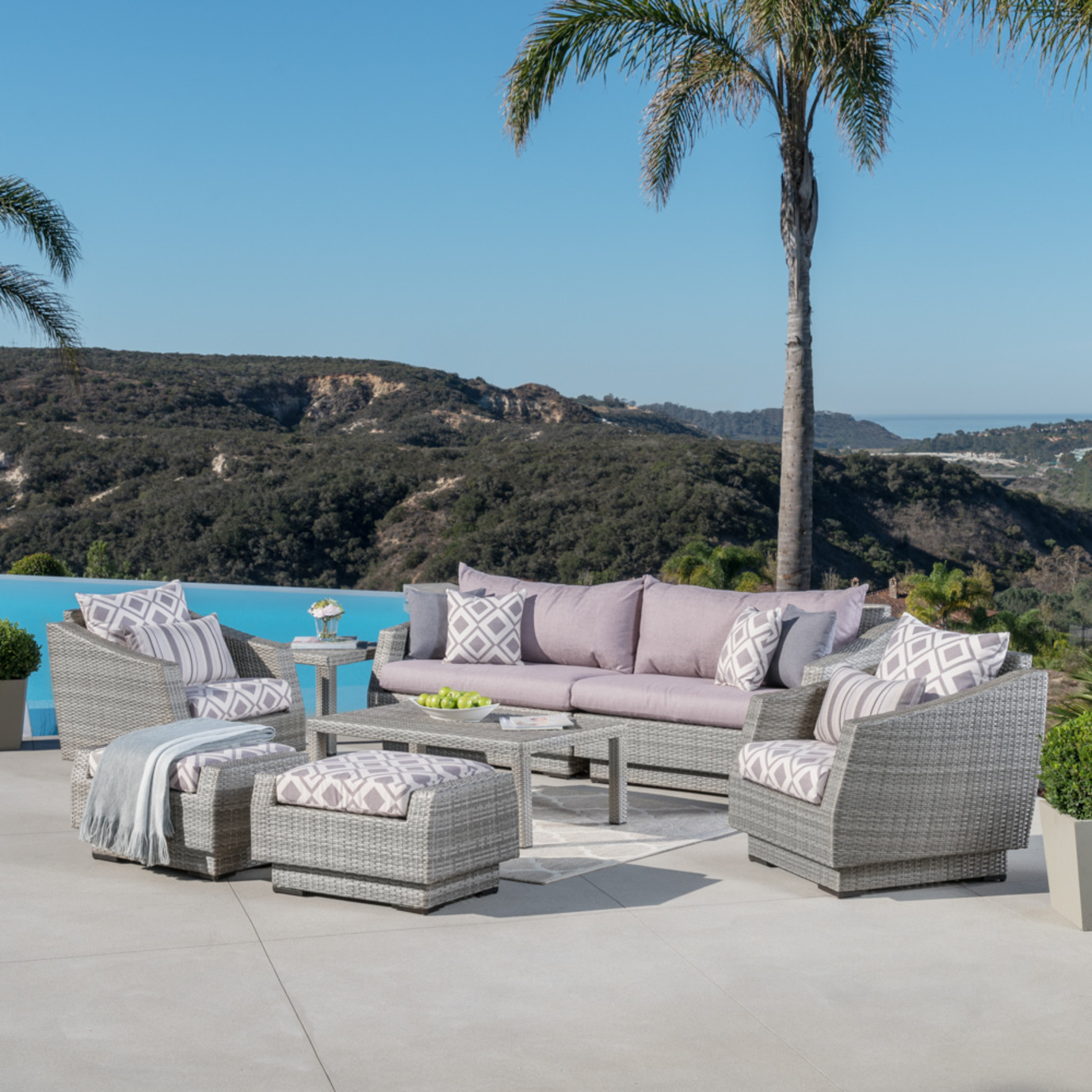 Cannes™ 8pc Sofa & Club Chair Set - Wisteria Lavender