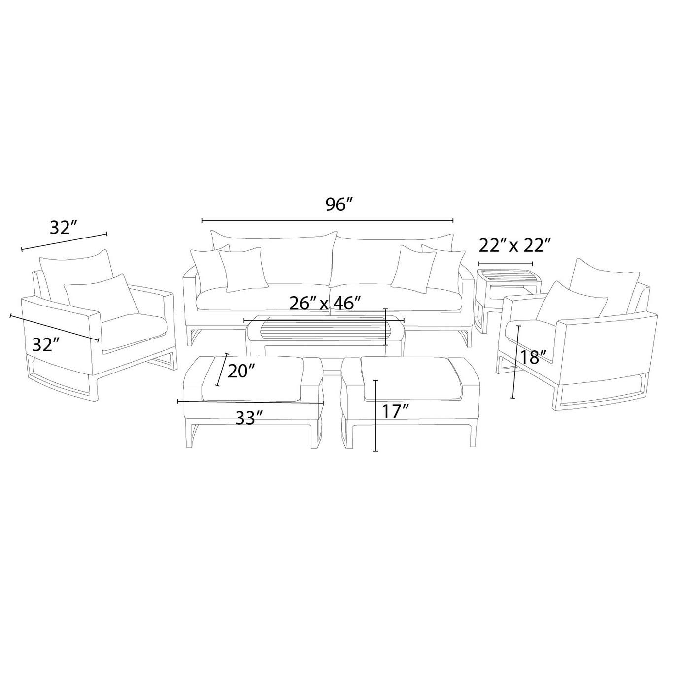 Mili™ 8 Piece Deep Seating Set - Charcoal Gray