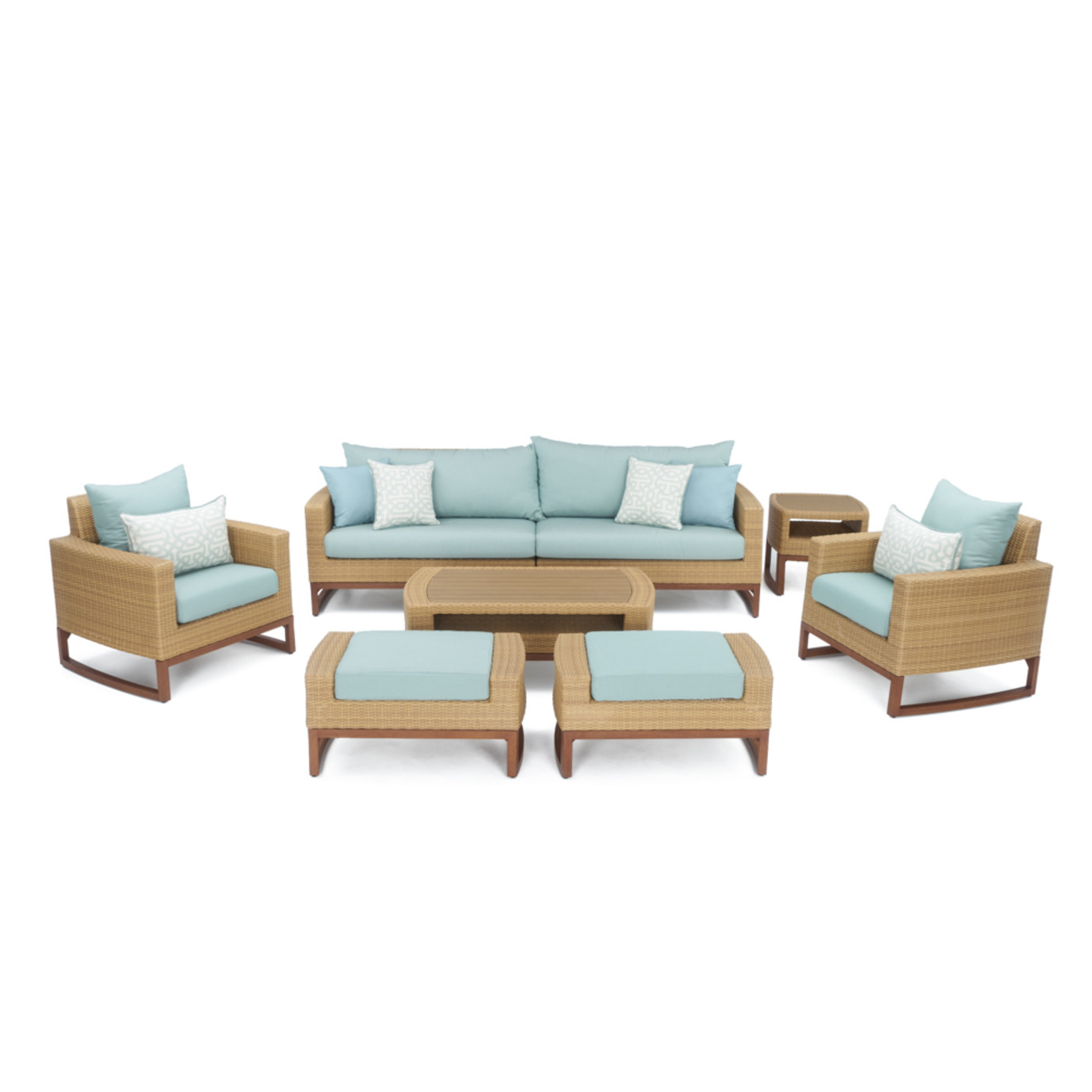 Mili™ 8 Piece Deep Seating Set - Spa Blue