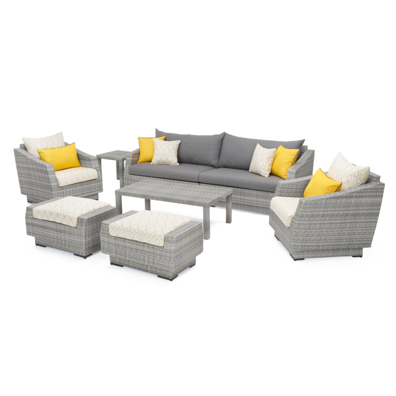 Cannes™ Design 8pc Sofa & Club Chair Set - Sunflower Yellow