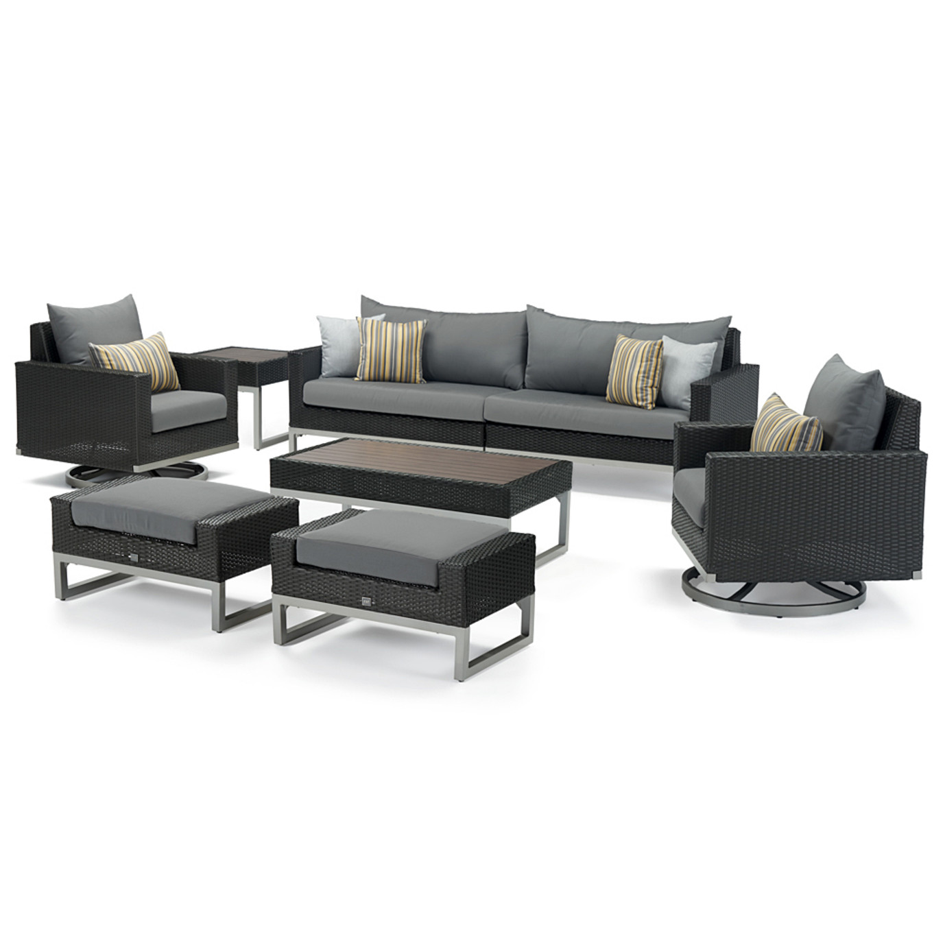 Milo™ Espresso 8 Piece Motion Seating Set - Charcoal Gray