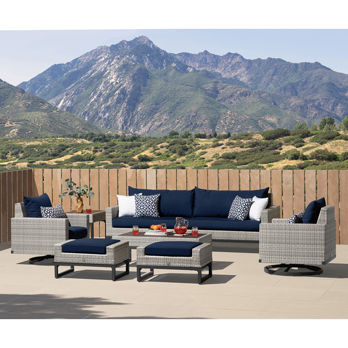 Milo Gray 8 Piece Motion Seating Set - Navy Blue