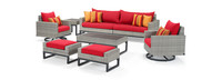 Milo™ Gray 8 Piece Motion Seating Set - Sunset Red
