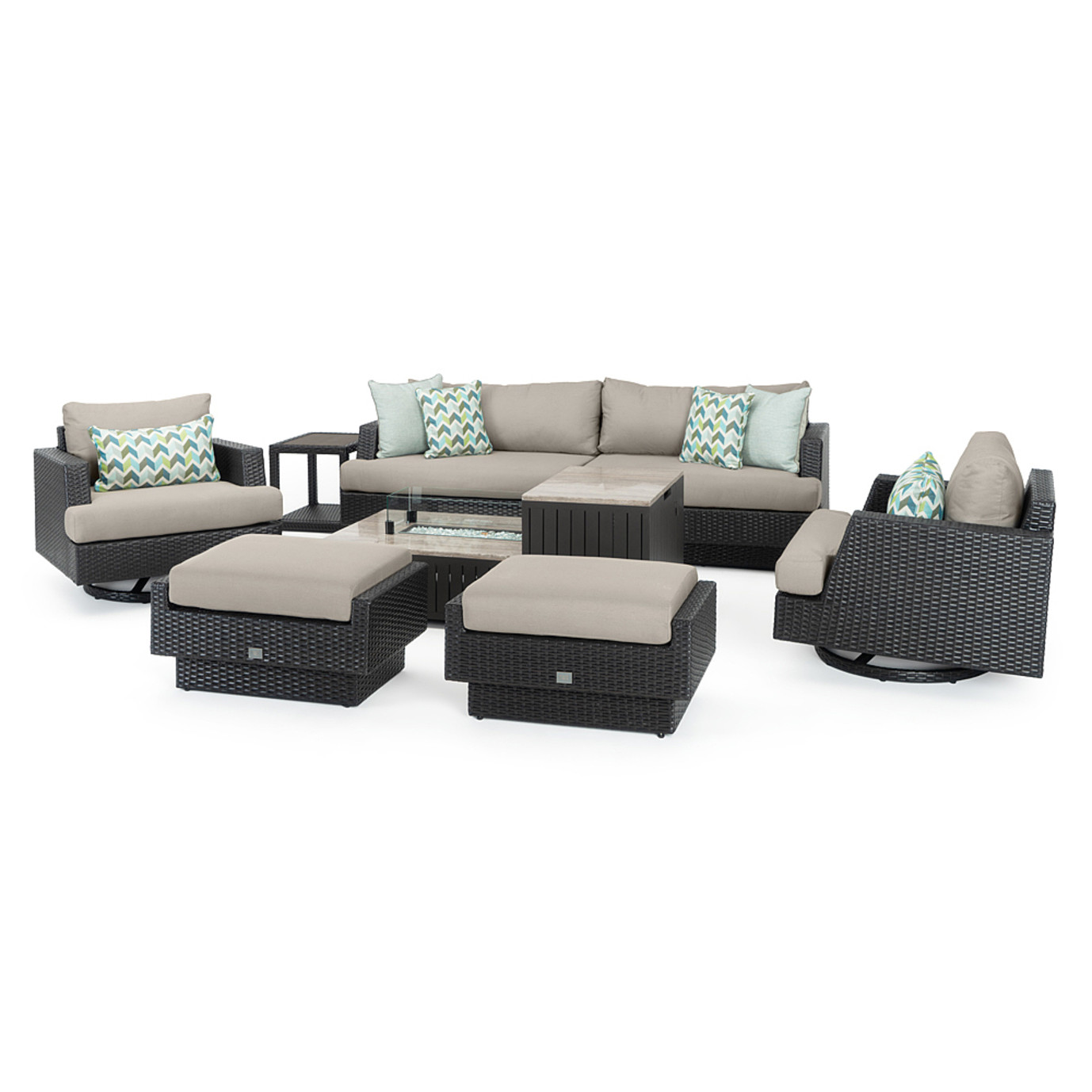 Portofino® Comfort 8 Piece Motion Fire Seating - Taupe Mist